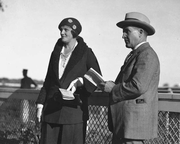 Harry and Eunice Oakes visit a racetrack in Toronto, some time in the 1930s